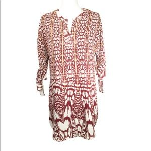 Umgee trapeze dress, tunic top, burgundy and gold